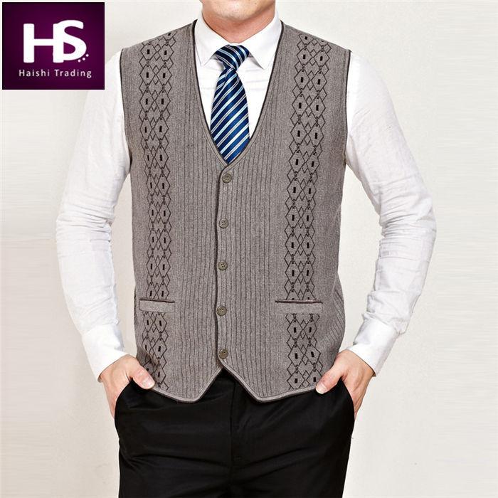 High Quality 2015 New Winter Autumn Sleeveless Sweater Men Cashmere Vest Mens Sweaters V-Neck Cardigan Brand Jersey Pocket XXXXL(China (Mainland))