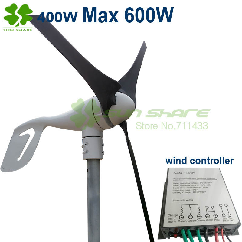 wind power generation 3blades Max 600w with 400w wind controller charging battery directly . strong wind protection function(China (Mainland))