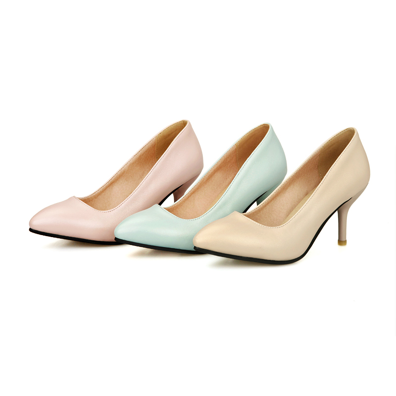 Wholesale New Arrival Clean Single Office Lady Shoes Thin High Heel Shoes Synthetic Leather Pointy US Size Women Shoes S116(China (Mainland))
