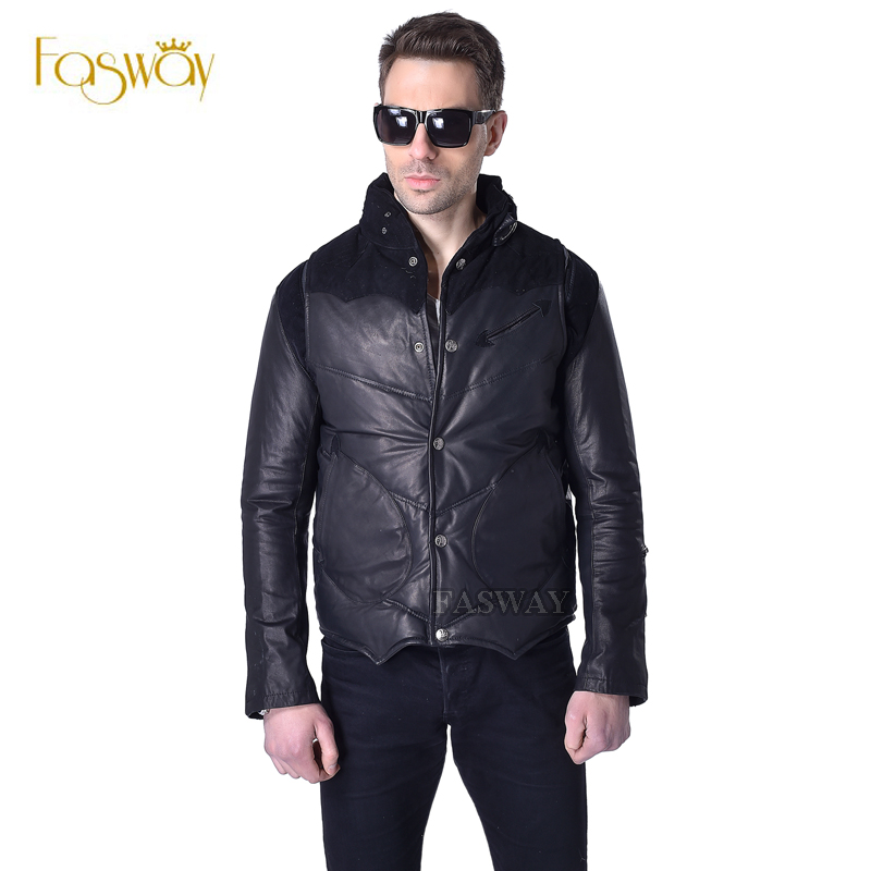 Factory Duck Down Leather Jacket Men 100%Genuine Sheepskin Leather Removable Thin Sleeve Black Short Men's Winter Coat ZH054(China (Mainland))