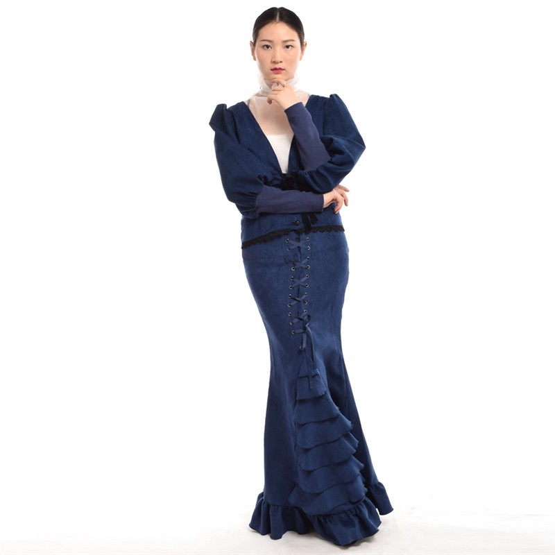 Women Vintage Steampunk Sleeve Deep V-neck Costume