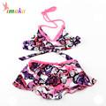 2016 Fashion Cute Girls Kids Swimwear Baby Swimsuit Biquini Infantil Flower Two Pieces Swim Suit Costume