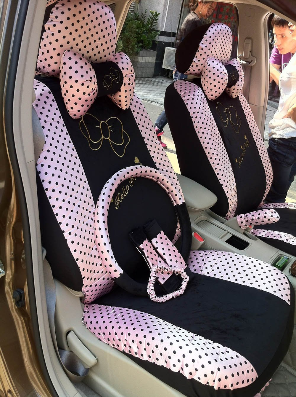 New 2015 16pcs Water Jade Pink Bows Universal Car Seat