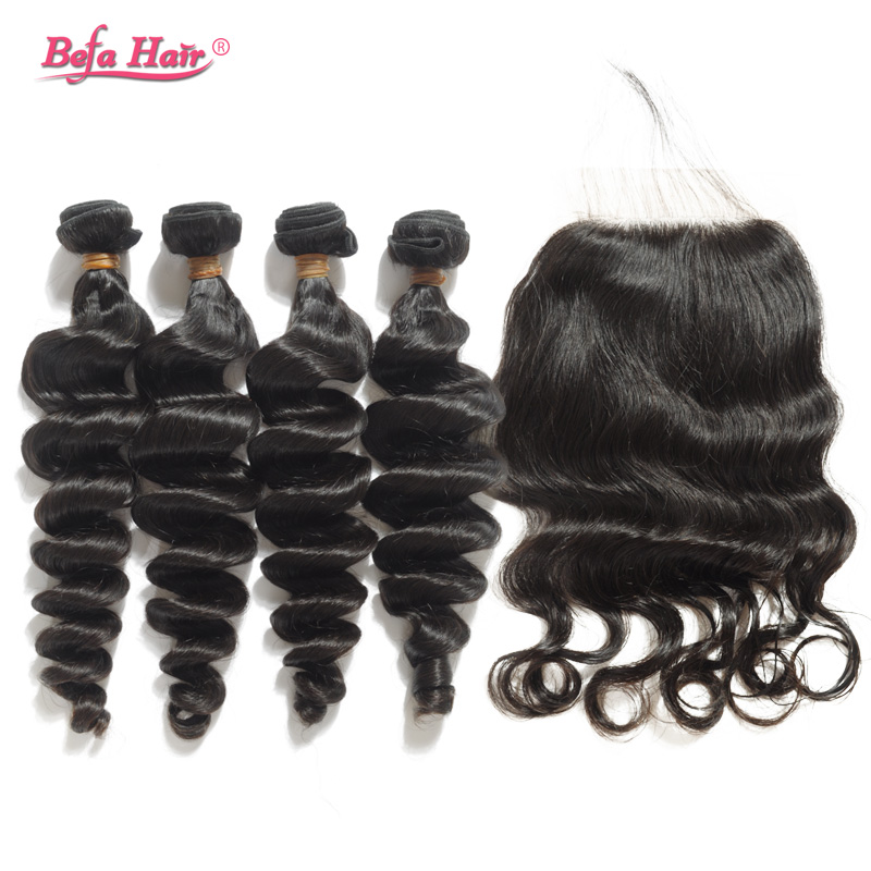 Здесь можно купить  Hot loose wave Virgin Malaysian hair 3pcs human hair bundles with a closure medium brown swiss lace free part bleached knots  Волосы и аксессуары