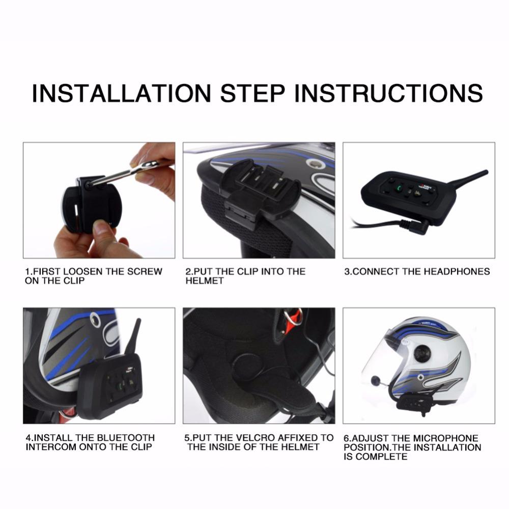 2018 new coming 2pcs/set V6 1200M Bluetooth 3.0 Motorcycle Helmet Intercom headphone for 6 Riders Wireless BT Intercomunicador