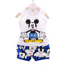 2016 NEW  summer Children  Girls boy clothes Set Suit  Cartoon Micky Minnie Mouse T-shirt  sleeveless hoodies +pants 2 pcs sets