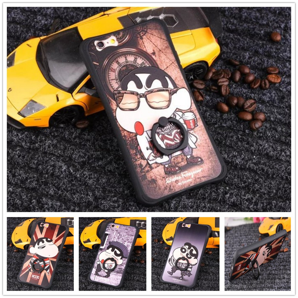 """Cartoon Crayon Painted 3D Relief sFor Apple iPhone 6s 6 6plus 4.7"""" Case For iPhone 6splus 5.5 Cell Phone Case Cover Ring bracket(China (Mainland))"""