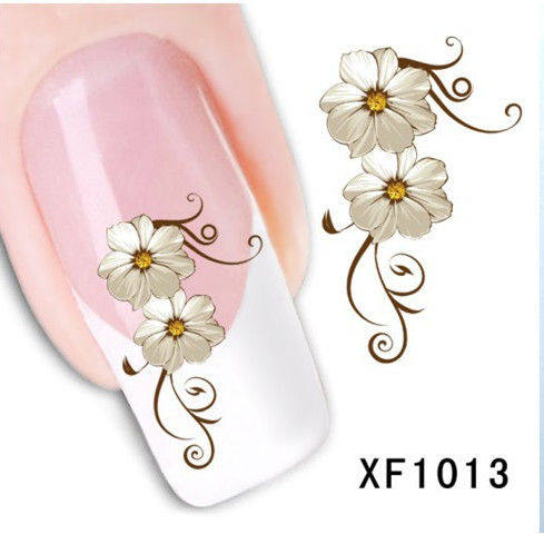 1 Sheet Fashion 3D Design Daisy Flower Watermark Nail Decals, DIY Water Transfer Nail Stickers Manicure Tools (XF1013)(China (Mainland))