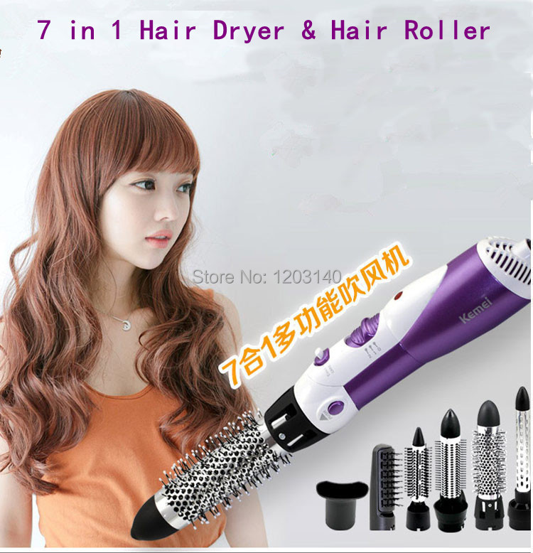 Hair Care 7 in 1 Electric Hot Air Hair Brush hair dryer Curler Roller straightener Styling Tool Curling Iron Straightening Irons