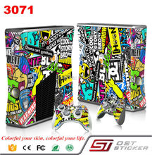 NEW Bombing Vinyl Decal Skin Sticker for Microsoft Xbox 360 slim and 2 controller skins sticker bomb for x box 360 3071