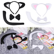 Brand New Cute Animal Tail Ear Headband Bow Tie 3Pc Tail Party Little Cat Fancy Dress Costume For Christmas Halloween Carnivals