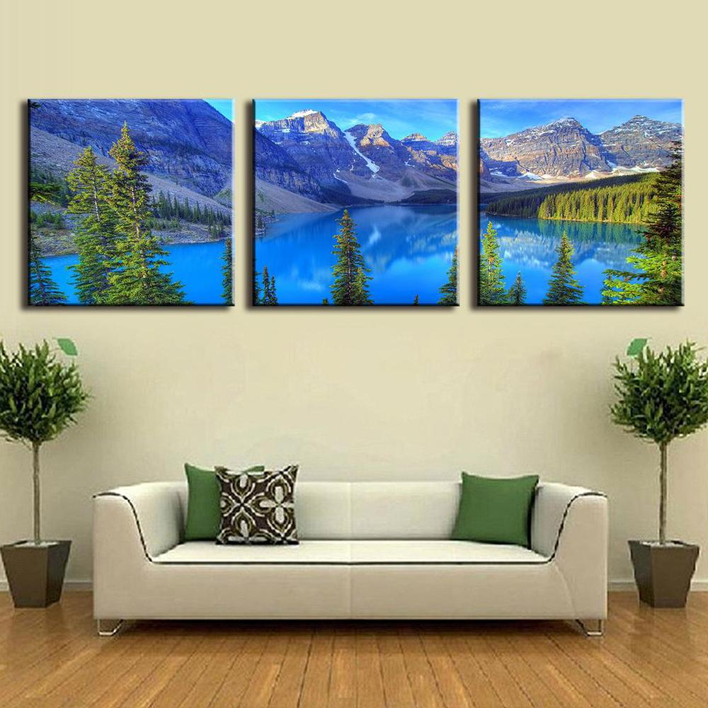3 Pieces Art On Canvas Alps Mountains And Blue Lakes Landscape Canvas Prints Modern Wall Paintings Decorative Picture Unframed(China (Mainland))