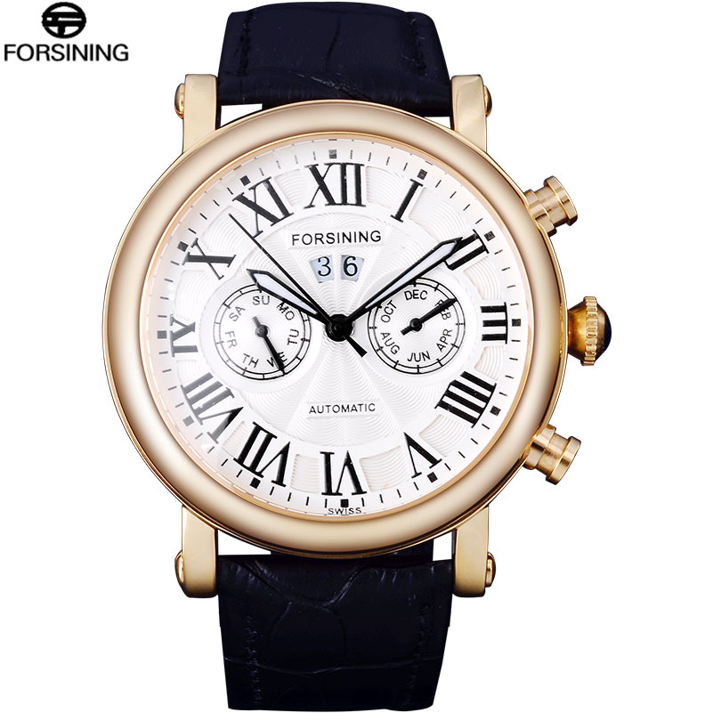 2016 FORSINING men watch Dress brand fashion business automatic mechanical relojes gold white date wristwatch genuine leather<br><br>Aliexpress