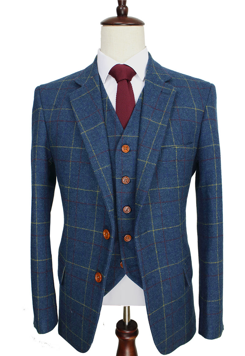 Wool Blue Ckeck Tweed Custom Made Men suit Blazers Retro tailor made slim fit wedding suits for men 3 Piece(China (Mainland))