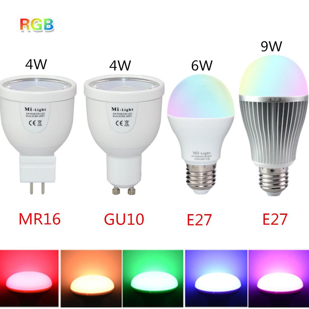 1Pcs 4W 6W 9W Led Lighting Dimmable 2.4G Wireless RGB Mi Light LED Bulb AC 85-265V GU10 E27 Lampada Light MR16 DC 12V Spotlight(China (Mainland))