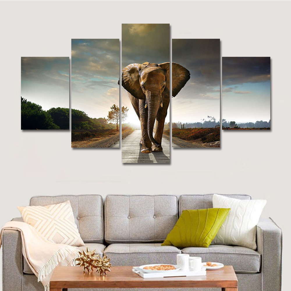 Artryst Hot Modern Printed Elephant Oil Painting 5 Panel Cuadros Canvas Wall Art for Home Decor Modular Painting Unframed(China (Mainland))