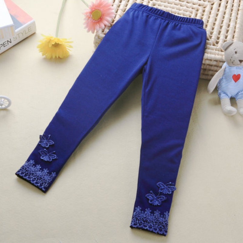 Stretchy Kid Baby Butterfly Lace Pants Girl Warm Leggings Trousers Toddler Tight Solid Color