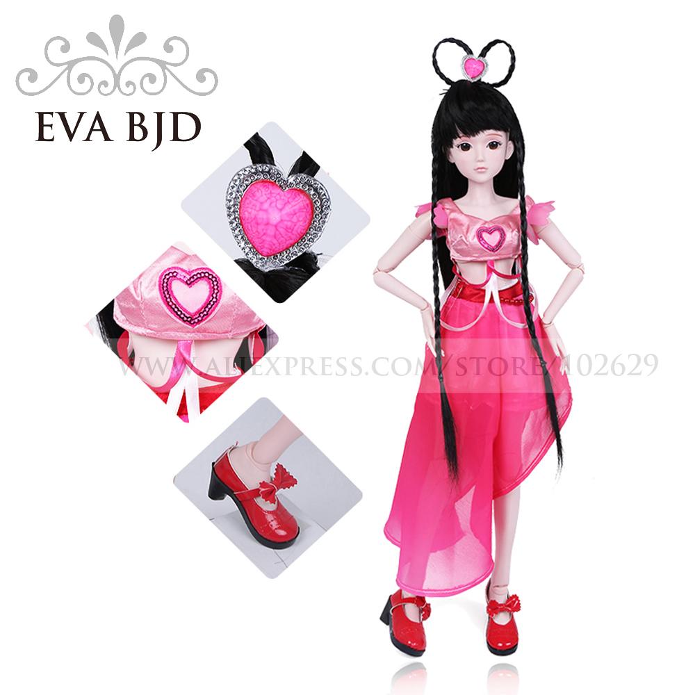 1/3 BJD Doll 60cm 19 jointed dolls Momo Girl dolls ( Free Eyes + Hair + Makeup + Clothes + Shoes ) EVA BJD DA001-07(China (Mainland))