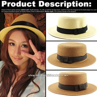 The little black bowknot Flat top straw hat Fashion beach hat Suitable for women sun hat beautiful summer hat(China (Mainland))
