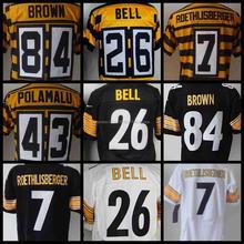 #7 Ben Roethlisberger jersey #43 Troy Polamalu #26 leveon bell #84 Antonio Brown #10 Martavis Bryant jersey(China (Mainland))