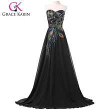 Evening Dress Grace Karin Strapless Peacock Formal Long Black Evening Dresses Lace Up Back Elegant Gown robe de soiree CL6168(China (Mainland))