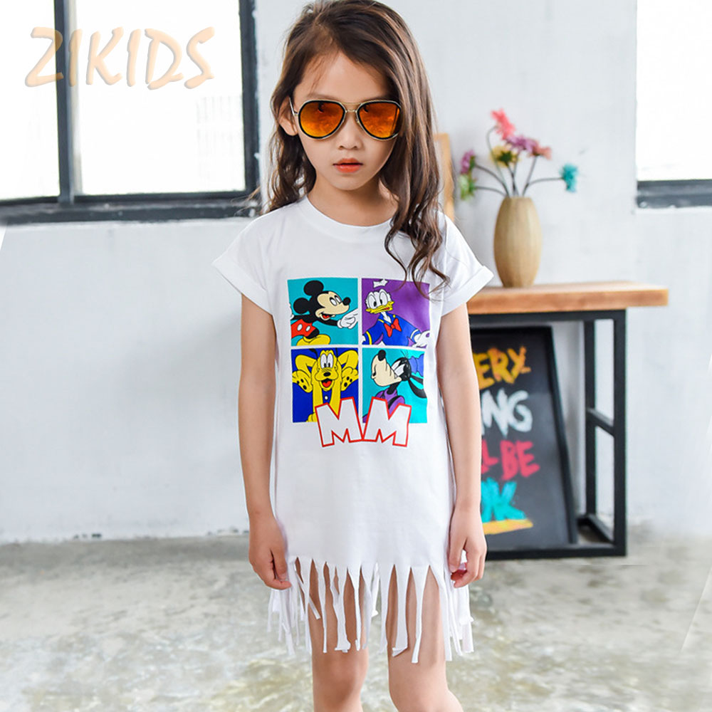 Cartoon Girls Summer Dresses Mickey Donald Print Tassel Baby Girl Dress Casual Cotton Kids Clothes Children Clothing 2016 Sale(China (Mainland))