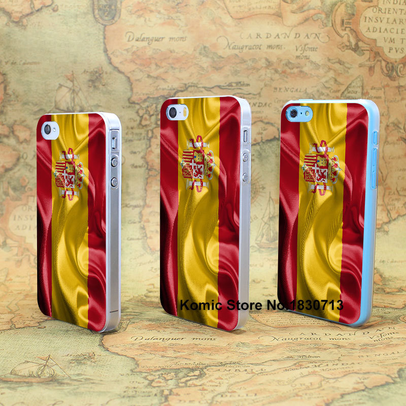 Kingdom of Spain Realistic Flag Design hard transparent clear Skin Cover Case for iPhone 4 4s 4g 5 5s 5g 5c(China (Mainland))