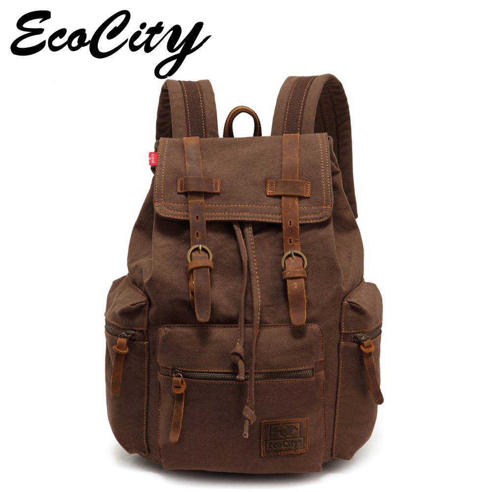 Гаджет  Genuine Leather Canvas Backpack Men,Military Tactical Backpack,Girls Vintage School Backpack,Women Laptop Backpack Bag,Rucksack None Камера и Сумки