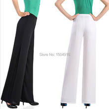 HOT!!2015 New Fashion women wide leg pants summer ladies baggy pants women loose pants chiffon trousers black white 2XL 3XL 4XL(China (Mainland))
