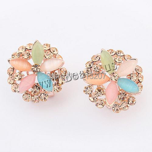 Free shipping!!!Zinc Alloy Stud Earring,Wholesale Lot, with Cats Eye, stainless steel earring post and Omega clip, Flower<br><br>Aliexpress