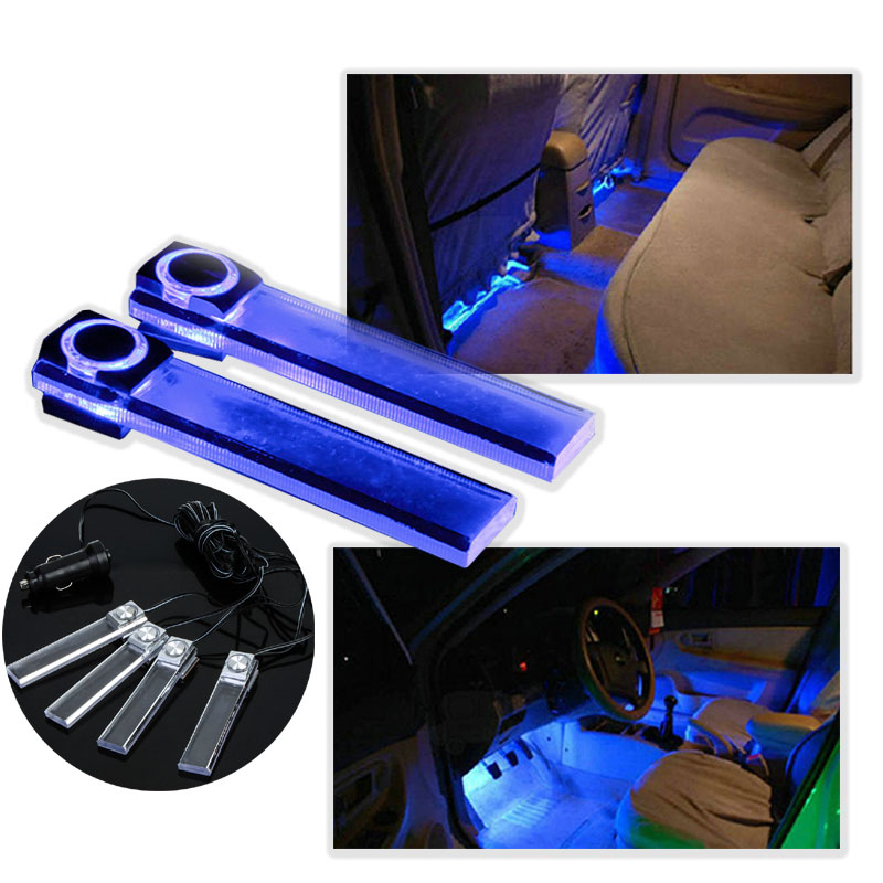 New arrival 4 in 1 12V Car Auto Interior LED Atmosphere Lights Decoration Lamp Blue droshipping Wholesale(China (Mainland))