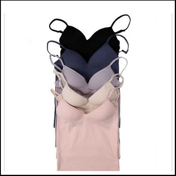 Modal Adjustable Strap Built In Bra Padded Self Mold Bra Tank Tops Camisole Vest free shipping(China (Mainland))