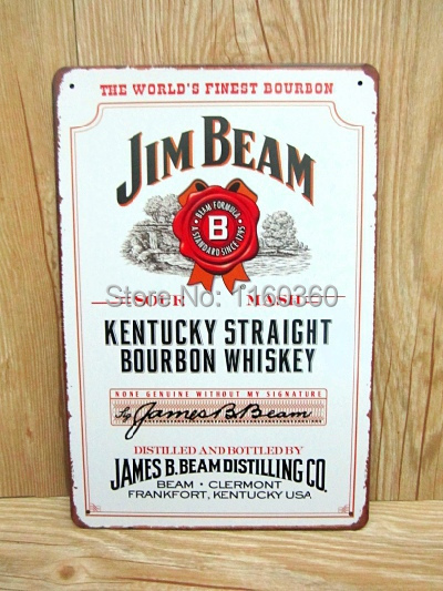 20*30CM Jim Beam Wall Stickers Decor Iron Retro Tin Metal Signs Plaques Living Room Bedroom Bar Cafe mural Decor M179(China (Mainland))