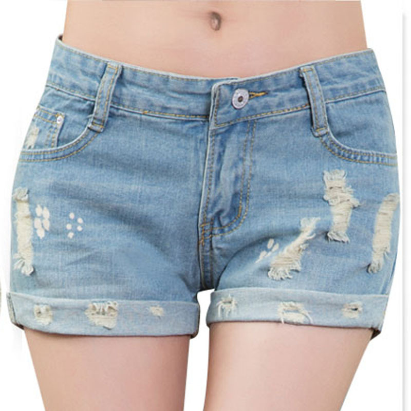 2015 Summer Brand Ripped Skinny Short Jeans Women 100% Cotton Light Blue Washed Casual Shorts L677 - Hello madam store