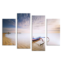 4PCS boat belong beach set paints Wall painting print on canvas for home decor ideas paints on wall pictures art No framed(China (Mainland))
