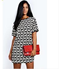 2015 New Fashion Women Causal Chiffon Dresses Short Sleeve O-neck Loose Mini Dresses Print Summer Vestidos(China (Mainland))