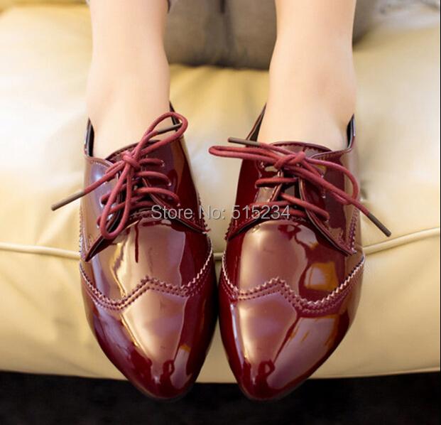 fashion women's flats Patent leather black dance female casual four seasons oxfords shoes - A chun's store