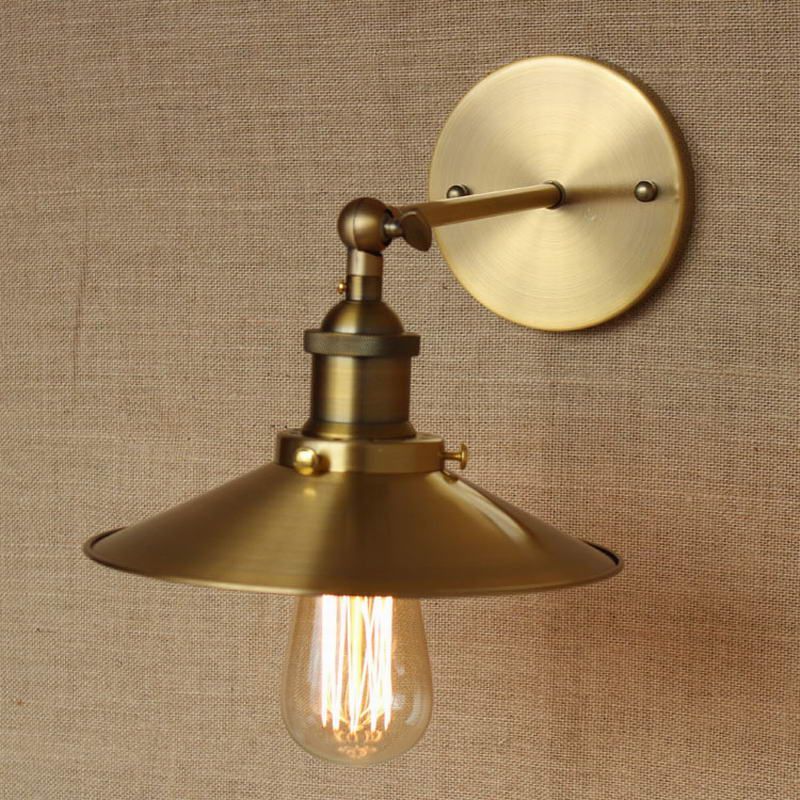 LOFT Lamp Discount Lighting Antique Gold Metal Wall Lamp Industrial Style Adj