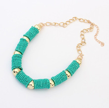 2015 Fashion Bohemian hand-made beads short necklace Vintage Gold Choker Chain Statement Necklaces & Pendants Jewelry For Woman