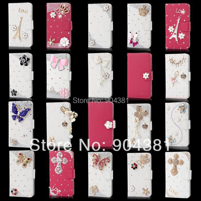 New Fashion Bling Diamond PU red white leather stand wallet crown flower Hard Back phone Case CoverFor Sony Xperia Z1 L39H(China (Mainland))