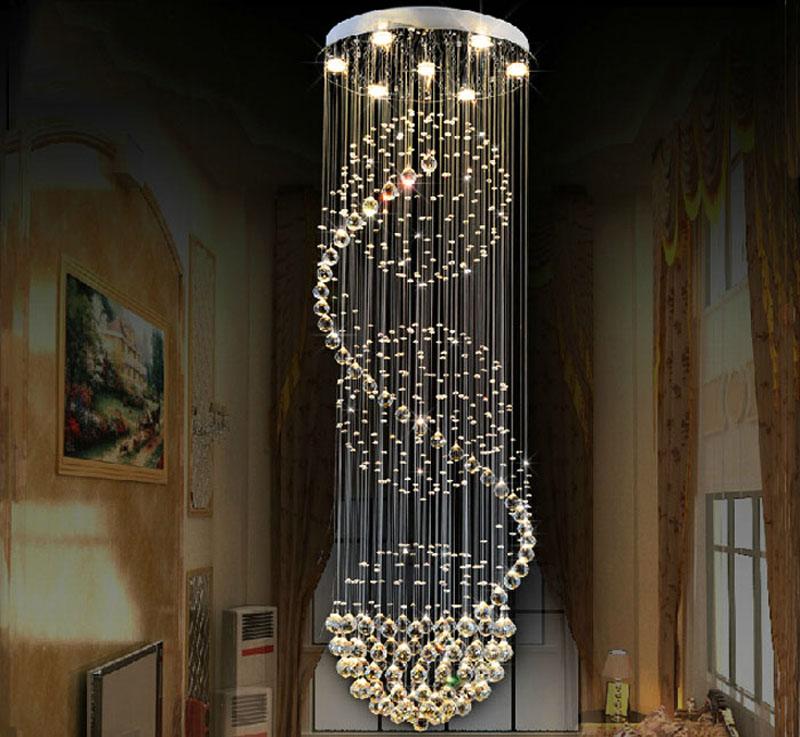 modern ball design k9 crystal chandelier large lustres de crystal lights spiral design lamp for. Black Bedroom Furniture Sets. Home Design Ideas