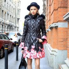 Winter Women Down 90% White Duck Down Slim Flower Print Fur Sashes Thick Long Coat Elegant Luxury Fashion Brand Winter Down