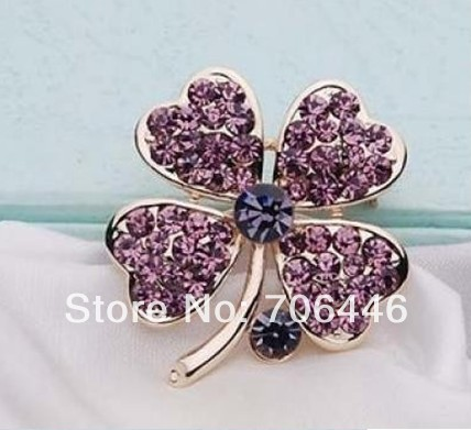 Gold Plated Lilac Rhinestone Crystal Small Clover Leaf Flower Pin Brooch(China (Mainland))