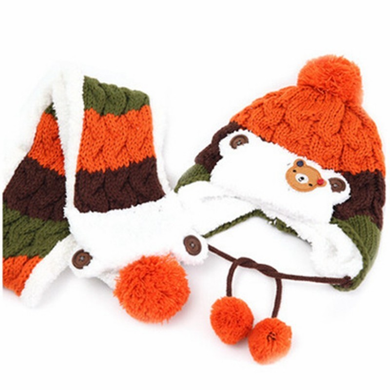Winter Baby Hats Scarf Set Lovely Cartoon Bear Boy Girl Striped Woolen Hats Newborn Baby Beanies Keep Warm Hat Scarf Twinset