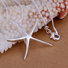 Free Shipping  Silver fashion jewelry  silver  Starfish necklace for women, silver plated necklace animal pendant chains