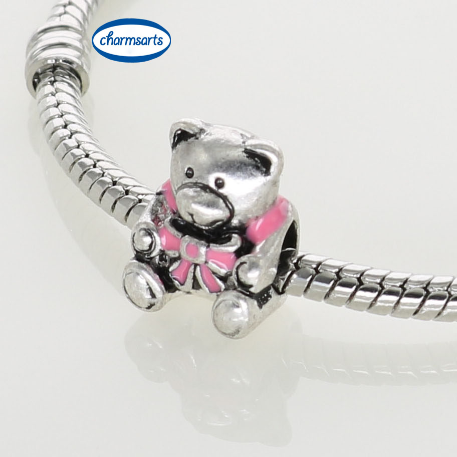 Hot Sale Metal Charms Silver Original Design Beads Enamel Pink Heart Charms Bowknot Teddy Bears European Mixed Lot Beads(China (Mainland))