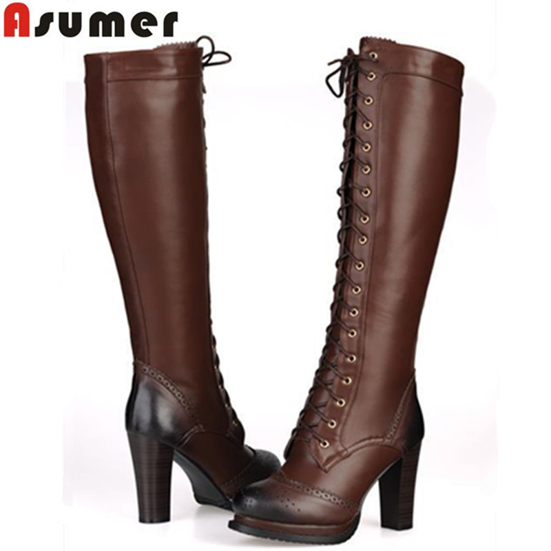 2016 new fashion lace up genuine leather boots black brown