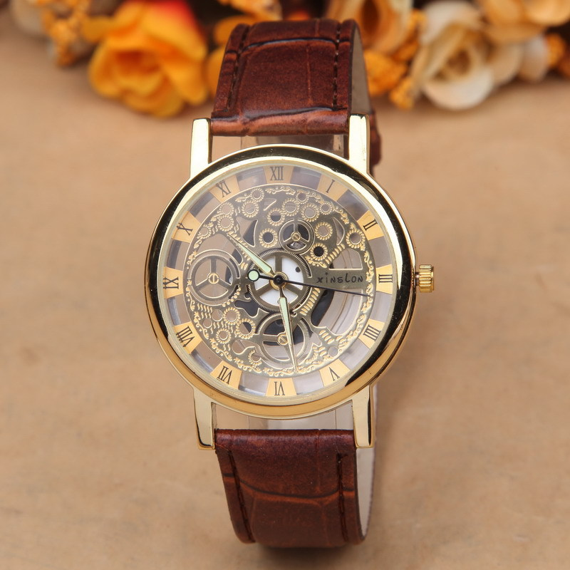 New Famous Brand Luxury Fashion Casual Stainless Steel Men Skeleton Watch Women Dress Wristwatch Leather Quartz girl boy watch(China (Mainland))