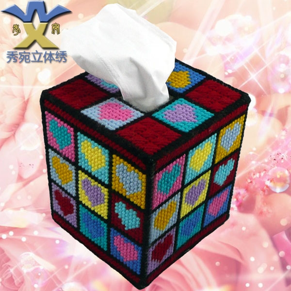 Three-dimensional embroidery 3d cross stitch new arrival magic cube box tissue pumping box diamond print Free shipping(China (Mainland))