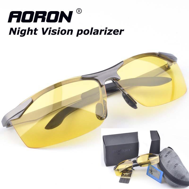 Polarized Sunglasses Night Vision Goggles men's car Driving Glasses Anti-glare Silver/Black Alloy Frame glasses+Original Box(China (Mainland))